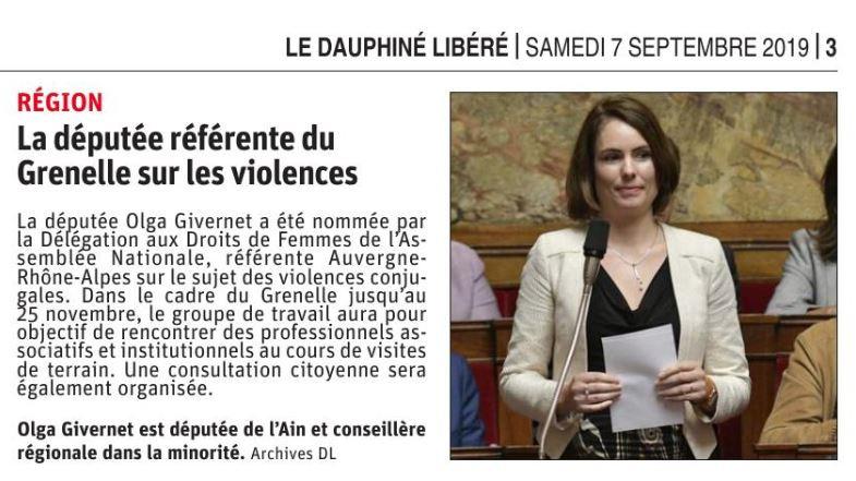 Article Olga Givernet référente du Grenelle sur les violences
