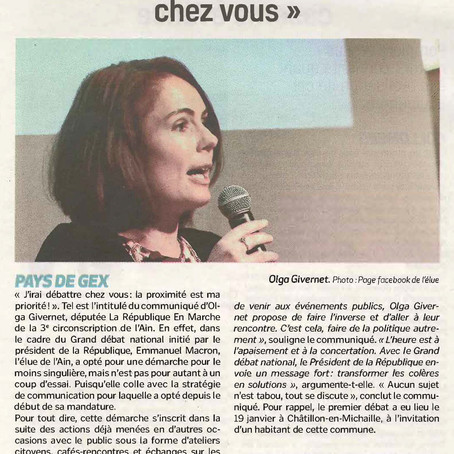 """Voix de l'Ain : Olga Givernet """"J'irai débattre chez vous"""""""