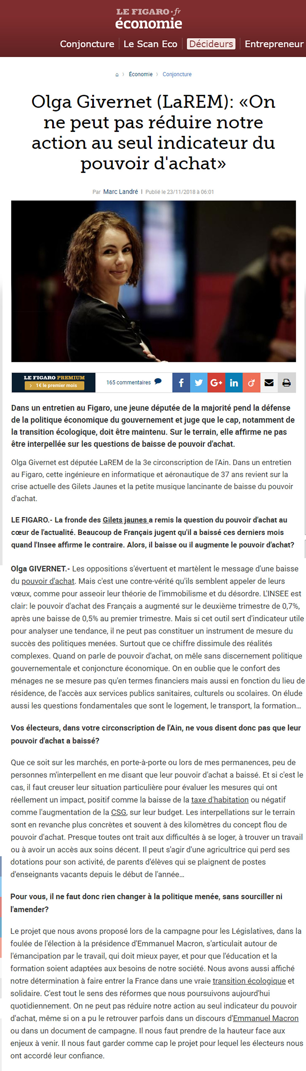 Article Le Figaro - ITW