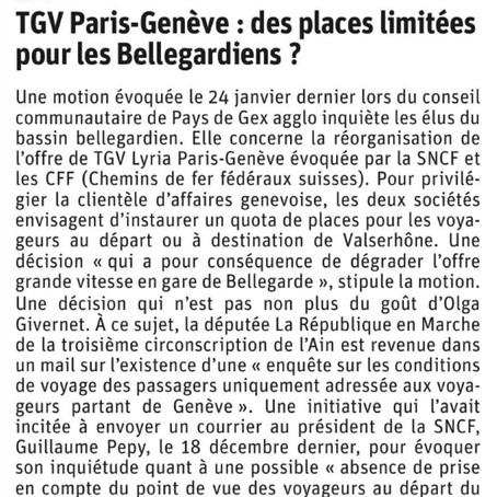 Le Dauphiné libéré : TGV Paris-Genève : des places limitées pour les Bellegardiens ?
