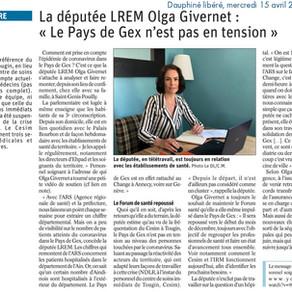 """Le Dauphiné libéré : la députée LREM Olga Givernet """"Le Pays de Gex n'est pas en tension"""""""