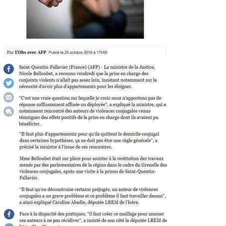 L'Obs : Belloubet veut plus de logements pour éloigner les conjoints violents