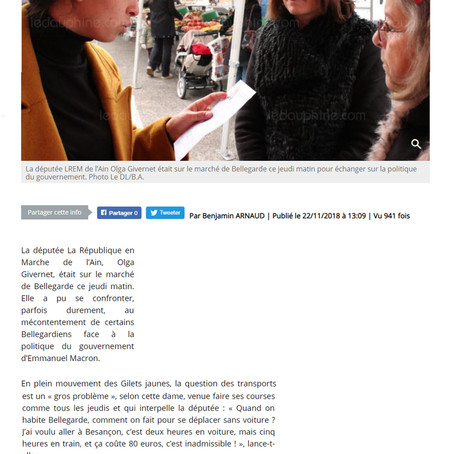Le Dauphiné : La députée Olga Givernet confrontée à la colère de Bellegardiens