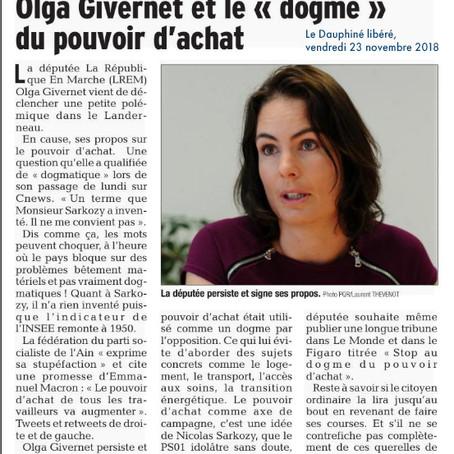 """Le Dauphiné : Olga Givernet et le """"dogme"""" du pouvoir d'achat"""