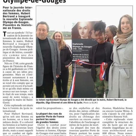 Le Dauphiné libéré : Inauguration de l'esplanade Olympe-de-Gouges