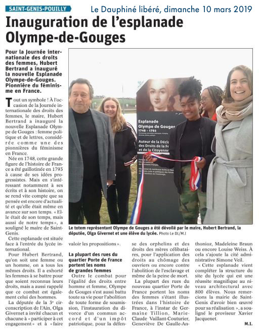 Article de presse - DL - Inauguration de l'esplanade Olympe-de-Gouges