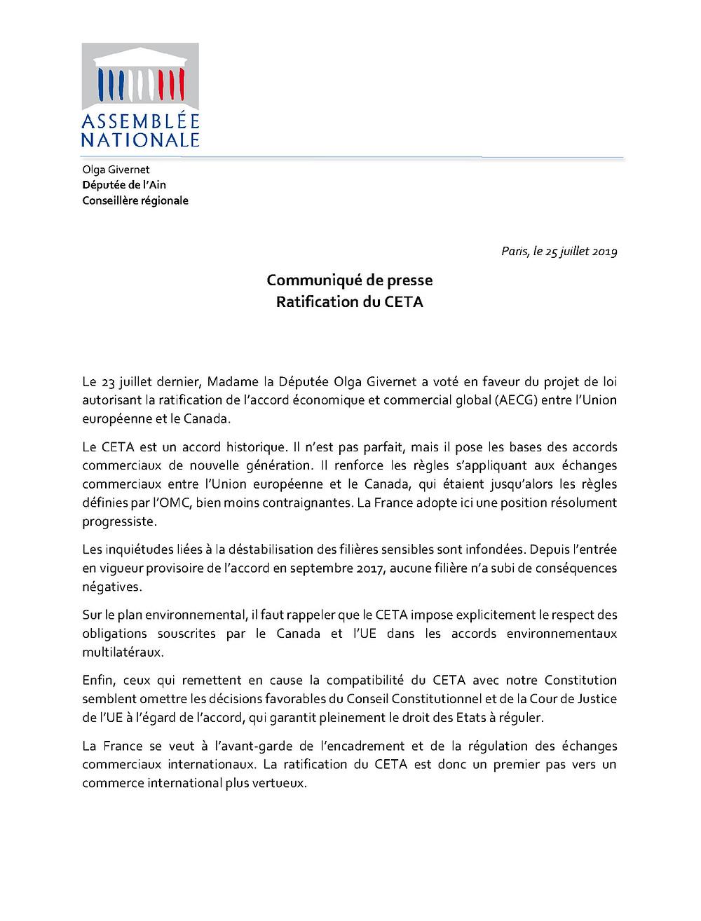 CP Ratification du CETA