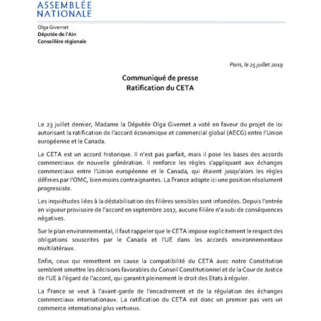 Ratification du CETA