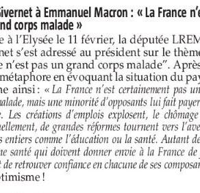 """Le Pays Gessien : Olga Givernet à Emmanuel Macron """"La France n'est pas un grand corps malade"""""""