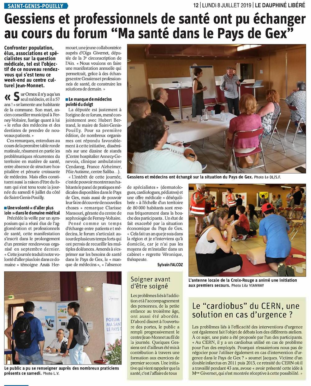 Article de presse Forum Ma santé dans le Pays de Gex