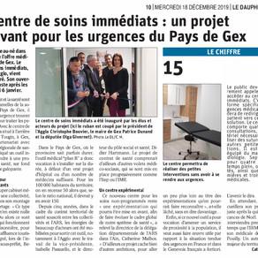 Le Dauphiné libéré : le centre de soins immédiats, projet innovant pour les urgences du Pays de Gex