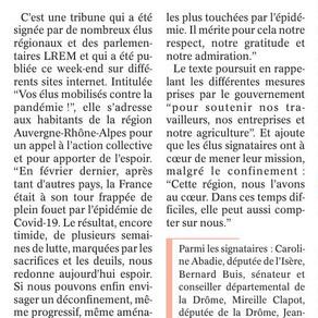 Le Dauphiné libéré : Tribune, les élus LREM mobilisés contre la pandémie