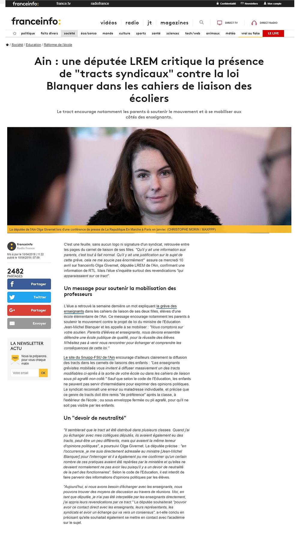 Article de presse - France info