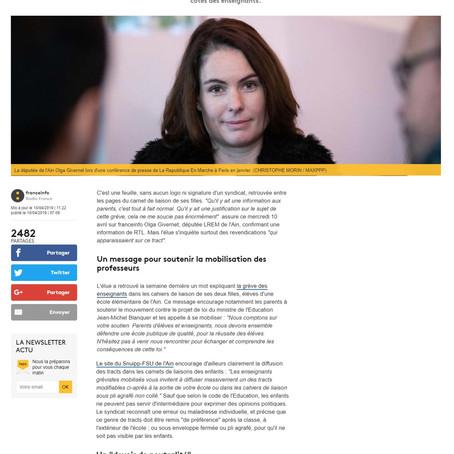 """France Info : une députée LREM critique la présence de """"tracts syndicaux"""" contre la loi Bl"""