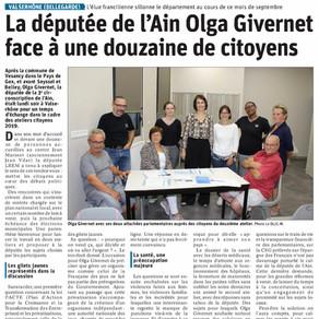 Le Dauphiné libéré : La députée de l'Ain Olga Givernet face à une douzaine de citoyens