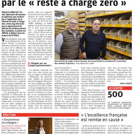 """Le Dauphiné libéré : la filière optique est menacée par le """"reste à charge zéro"""""""