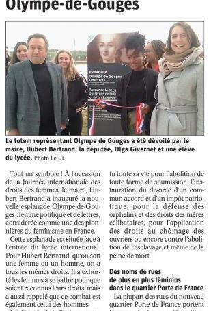 Le Progrès : Inauguration de l'esplanade Olympe-de-Gouges