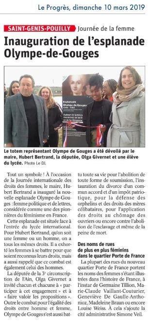 Article de presse - LP - Inauguration de l'esplanade Olympe-de-Gouges