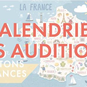 Calendrier des auditions / Vacances d'été 2020