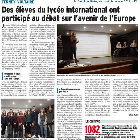 Le Dauphiné : Des élèves du lycée ont participé au débat sur l'avenir de l'Europe