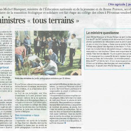 """L'Ain agricole : Visite Blanquer et Poirson - Des ministres """"tous terrains"""""""