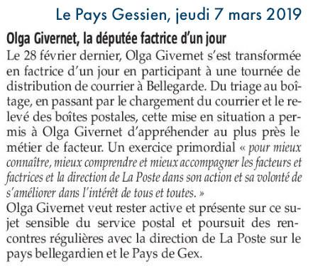 Le Pays Gessien : Olga Givernet, la députée factrice d'un jour