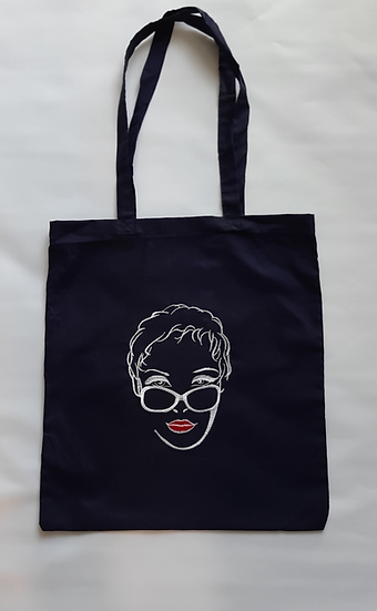 Embroidered Lady Tote Shopper Bag