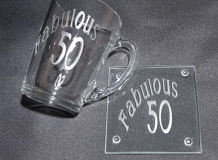Personalised Etched Glass Mug & Coaster Set