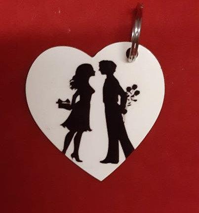 Personalised Love heart Keyrings Set Of 2