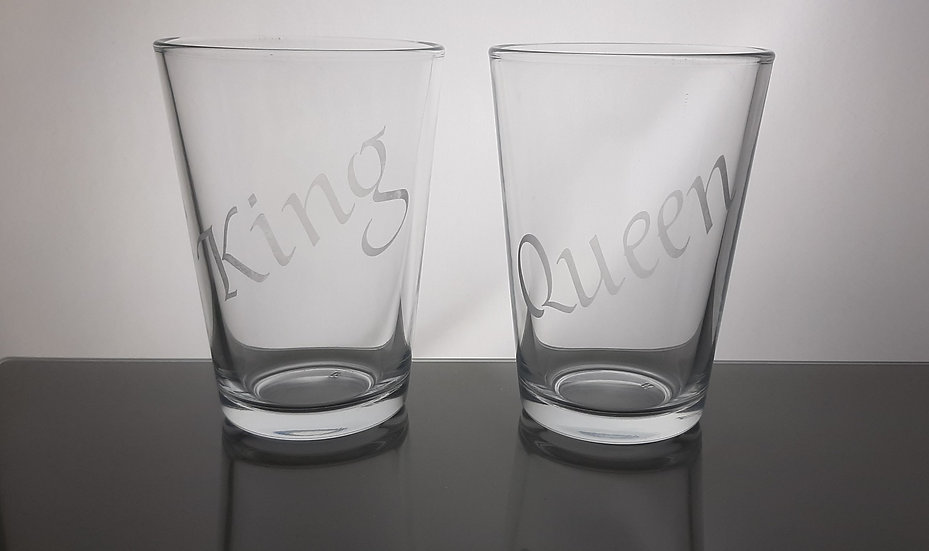 Personalised Etched Water Glasses Family set of 4