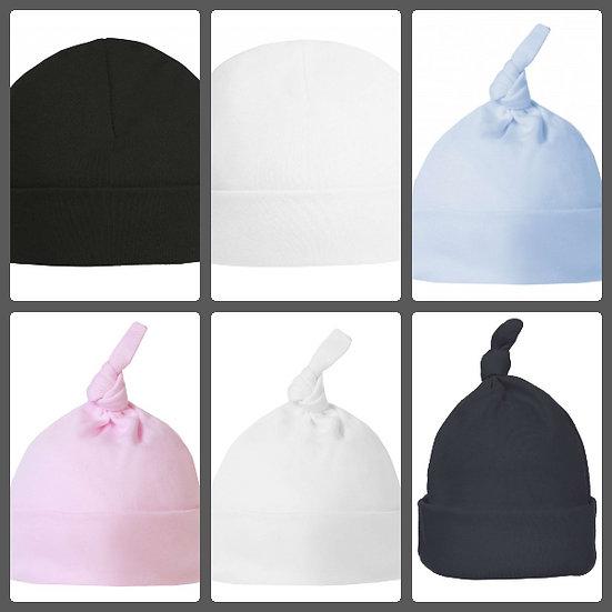 Babies Plain Hat 100% Cotton Set of 3