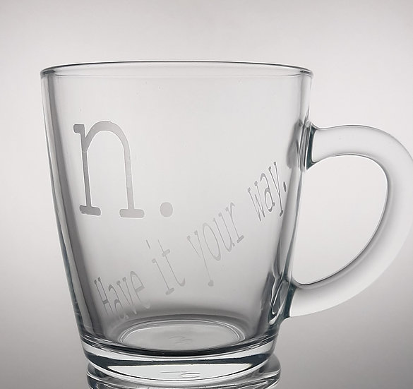 Nicells Etched Glass Mug