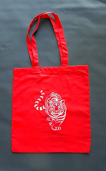 Embroidered Tiger Tote Shopper Bag