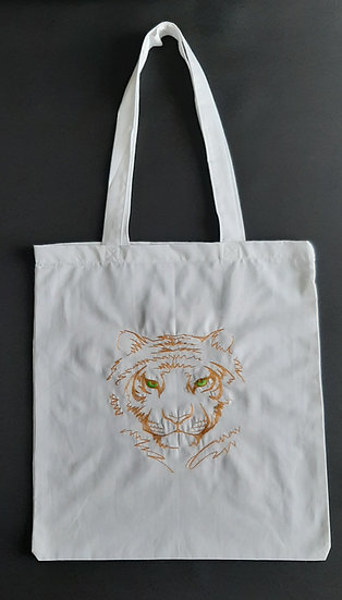 Embroidered Tiger Face Tote Shopper Bag