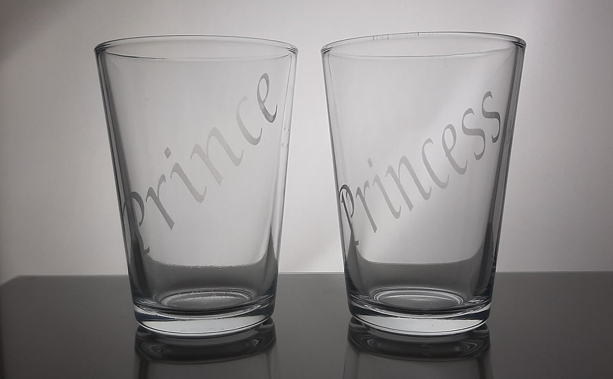 Personalised Etched  Water Glasses set of 2