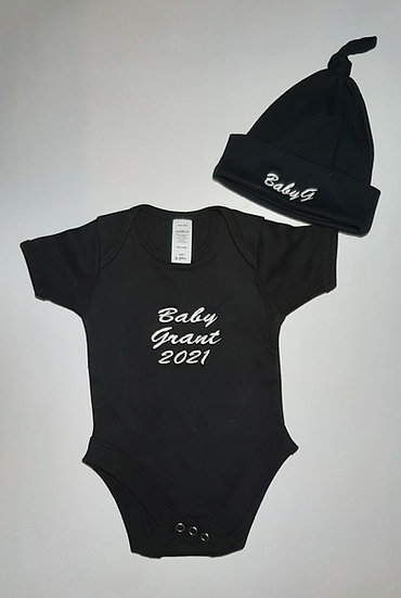 Personalised Embroidered Baby Body Suit & Hat Set