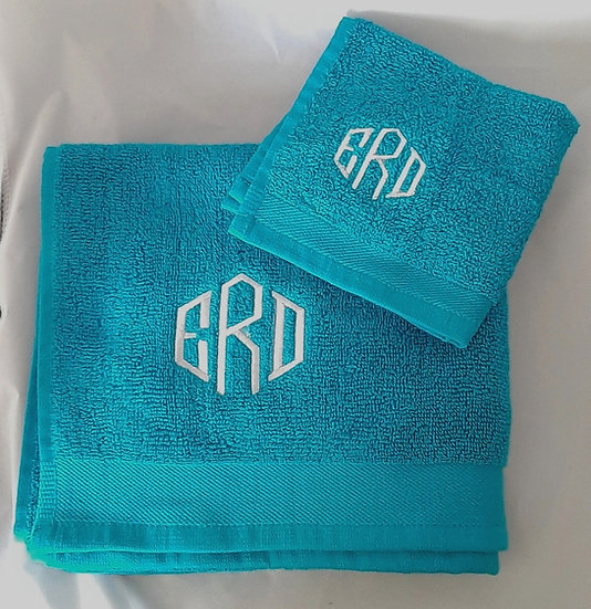 Personalised Embroidered Hand Towel & Flannel Set