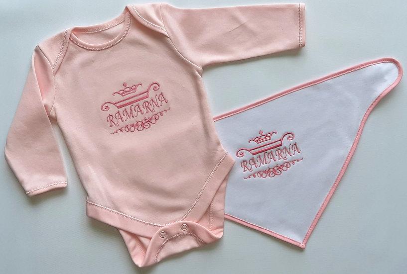Personalised Embroidered Baby Body Suit & Bandana Bib