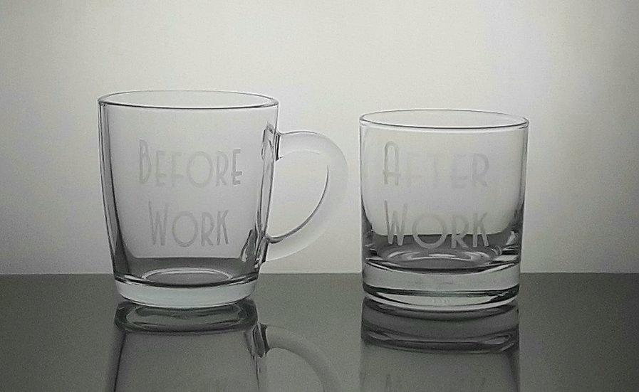 Personalised Etched Glass Mug & Tumbler Set