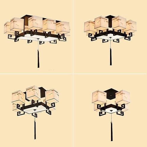(包送貨)現代中式風格 布藝風格 鐵藝吊燈 客廳房間燈 (約5-7天送到)
