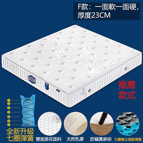 (包送貨) 23CM 兩用軟硬乳膠床墊 獨立袋裝彈簧床褥 可拆洗 可兩面用 軟硬適中 尺寸可訂做 (約7至10日送到)