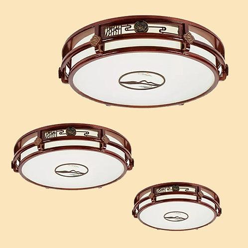 (包送貨)LED三色調光燈 現代中式風格 木藝天花燈 客廳房間燈(約5-7天送到)