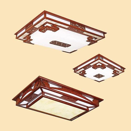 (包送貨)LED三色調光燈 現代中式風格 木藝天花燈 客廳房間燈 (約5-7天送到)