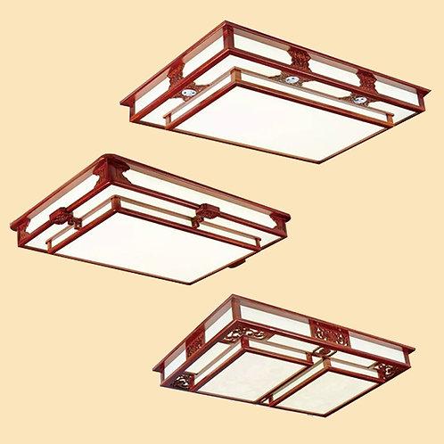 (包送貨)LED雙色燈 現代中式風格 木藝天花燈 客廳房間燈 (約5-7天送到)
