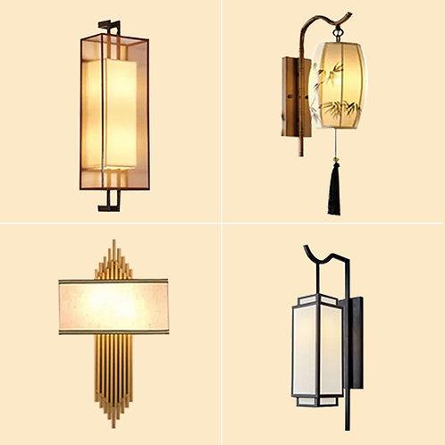(包送貨)現代中式風格 布藝風格 鐵藝壁  客廳房間燈 (約5-7天送到)