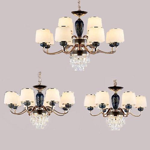 (包送貨)鐵藝電鍍燈 歐式吊燈 陶瓷風格 客廳房間燈(約5-7天到)