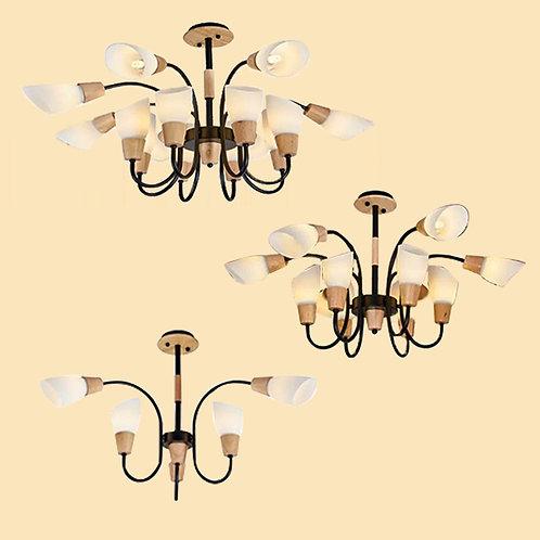(包送貨)原木北歐風格 木質風格 鐵藝吊燈 客廳房間燈 (約5-7天送到)