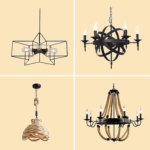 (包送貨)現代簡約風格  鐵藝復古風格 餐桌燈具 餐吊燈 餐廳客廳燈 (約5-7天送到)
