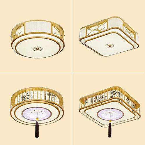(包送貨)現代中式風格 布藝風格 LED三色燈天花燈 客廳房間燈 (約5-7天送到)