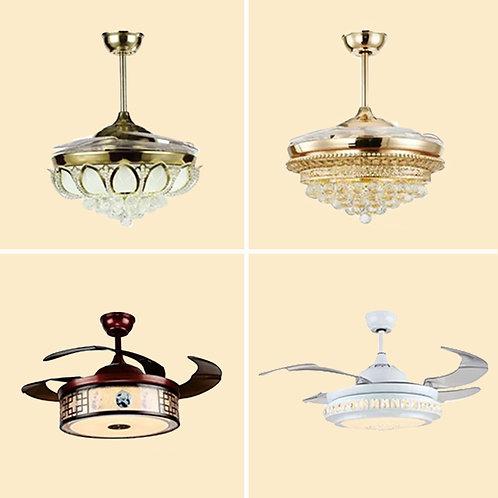 (包送貨)LED雙色燈 風扇吊燈一體燈 帶遙控 鐵藝風格 客廳房間燈(約5-7天送到)